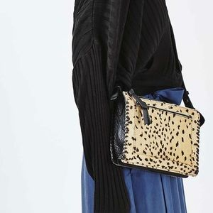 Topshop leopard print whipstitch crossbody